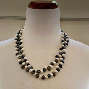 """Faux Freshwater Pearl White Grey 22.5"""" Necklace"""